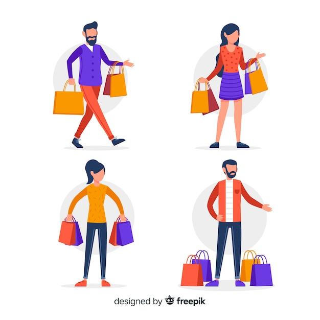 Ludzie niosący collectio torby na zakupy Darmowych Wektorów