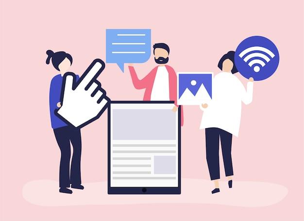 Ludzie Niosący Różne Ikony Związane Z Mediami Online Darmowych Wektorów