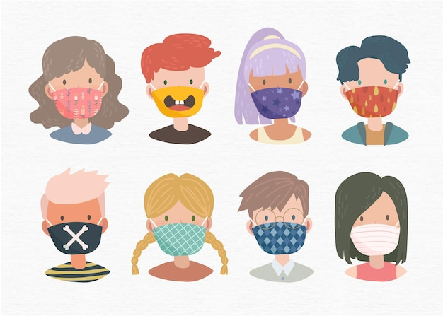 Ludzie Noszą Maseczki Z Tkaniny Darmowych Wektorów