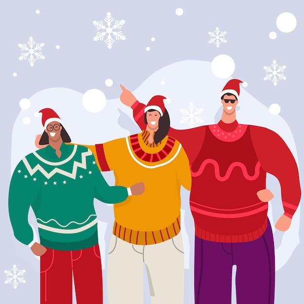 Ludzie Noszący Brzydkie Swetry Darmowych Wektorów