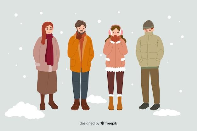 Ludzie Noszący Ciepłe Zimowe Ubrania Darmowych Wektorów
