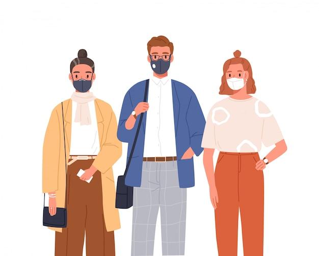 Ludzie Noszący Maskę Medyczną Na Płaskiej Twarzy Ilustracji. Mężczyzna I Kobieta W Ochronnych Respiratorach Na Białym Tle. Ochrona Przed Koronawirusem Premium Wektorów