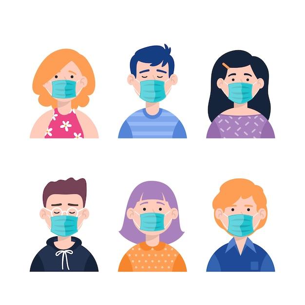 Ludzie Noszący Maski Medyczne Płaski Darmowych Wektorów