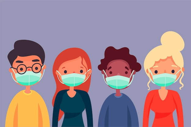 Ludzie Noszący Maski Medyczne Premium Wektorów