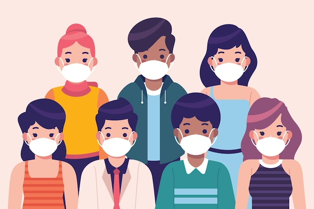 Ludzie Noszący Maski Medyczne Darmowych Wektorów