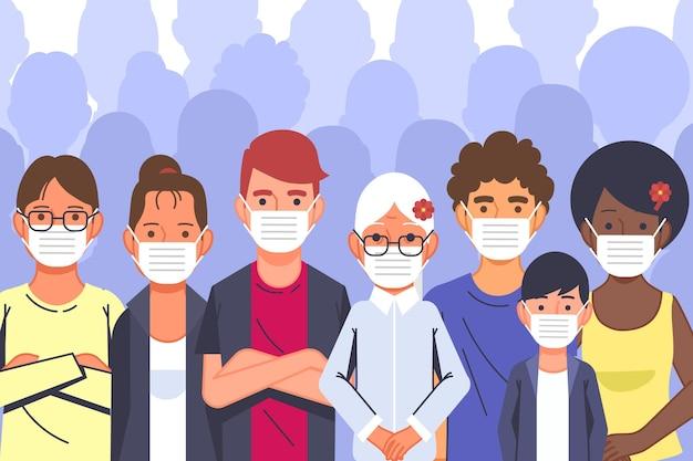 Ludzie Noszący Maski Na Twarz Premium Wektorów