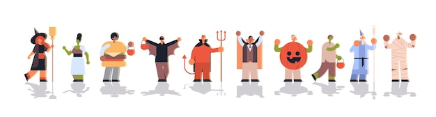 Ludzie Noszący Różne Kostiumy Potworów Stoją Razem Sztuczki I Traktują Szczęśliwą Koncepcję Uroczystości Halloweenowej Premium Wektorów