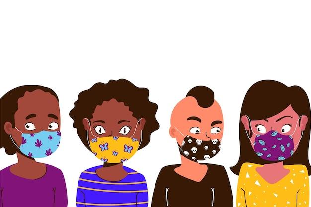 Ludzie Noszący Tkaniny Maski Na Twarz Darmowych Wektorów