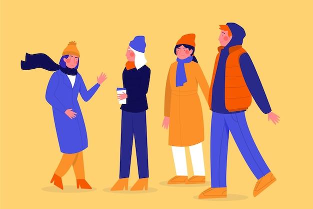 Ludzie noszący ubrania zimowe Darmowych Wektorów