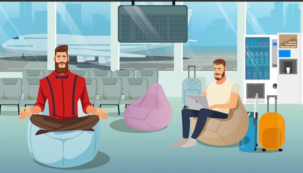 Ludzie odpoczywają w lotnisku lounge cartoon wektor Premium Wektorów