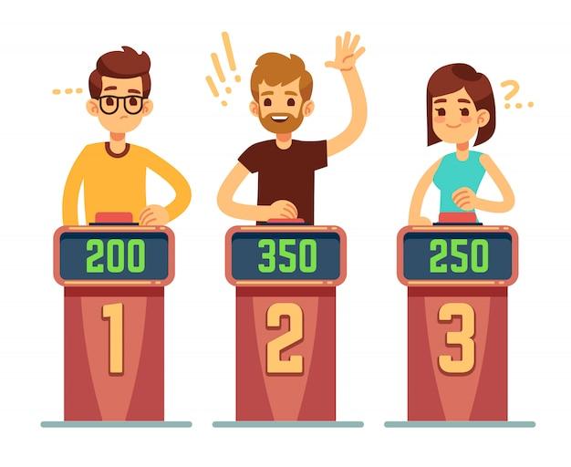 Ludzie Odpowiadający Na Pytania I Naciskający Przyciski Na Quizie. Koncepcja Gry Konkurencji Conundrum. Ilustracja Konkursu Gry, Inteligentny Quiz Premium Wektorów