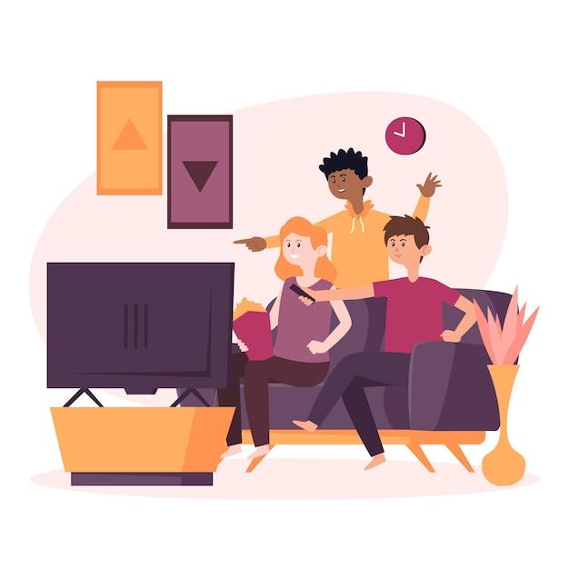 Ludzie Oglądają Film W Domu Darmowych Wektorów