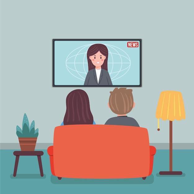 Ludzie Oglądają Wiadomości Darmowych Wektorów