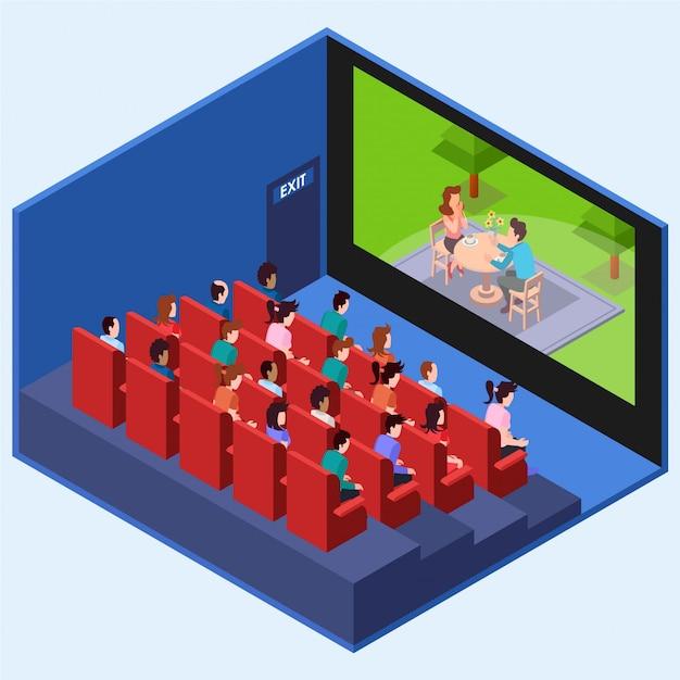 Ludzie Oglądający Film Romański W Kinie Izometrycznym Premium Wektorów