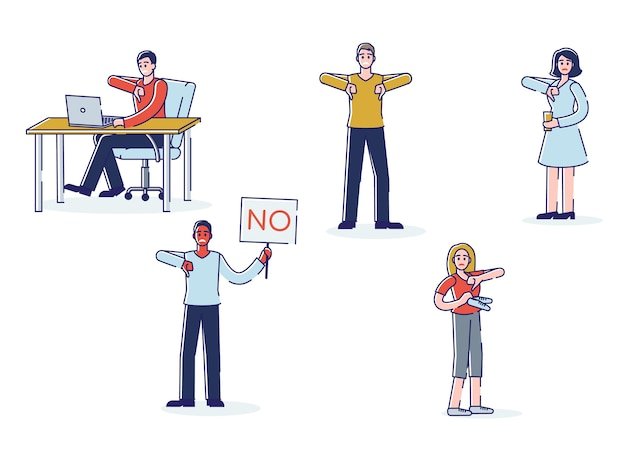 Ludzie Okazujący Dezaprobatę. Zestaw Postaci Z Kreskówek Pokazujących Kciuki W Dół I Negatywną Opinię Lub Skargę Premium Wektorów