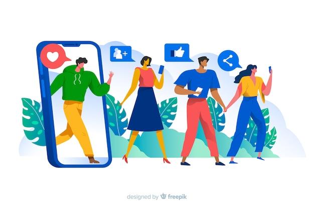 Ludzie otaczający ogólnospołeczną medialną ikony pojęcia ilustracją Darmowych Wektorów