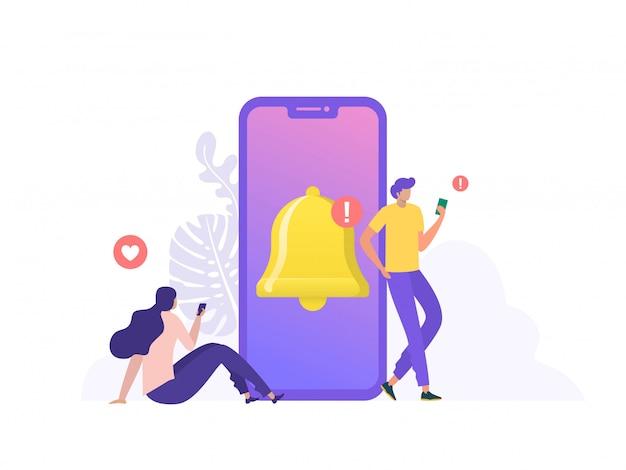 Ludzie Otrzymują Powiadomienia Na Czacie Na Telefon Komórkowy. Ludzie Włączają Powiadomienia Na Bieżąco W Mediach Społecznościowych. Można Użyć Do Strony Docelowej, Szablonu, Interfejsu Użytkownika, Strony Internetowej, Strony Głównej, Plakatu, Banera, Ulotki Premium Wektorów