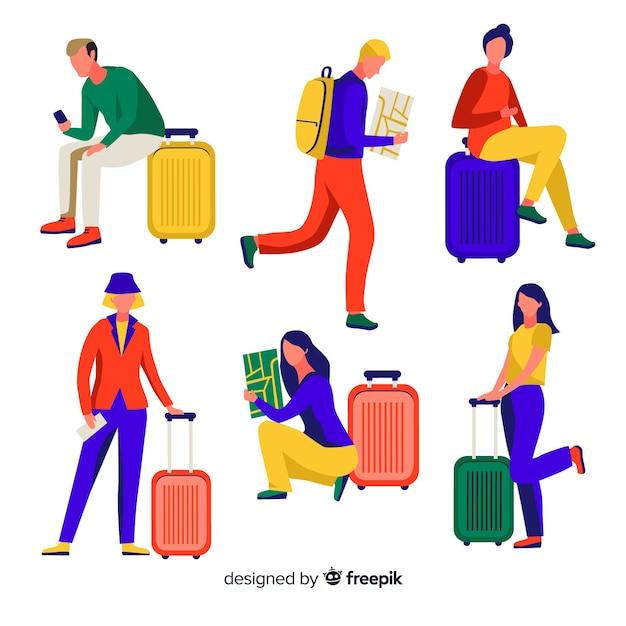 Ludzie podróżujący kolekcja Darmowych Wektorów