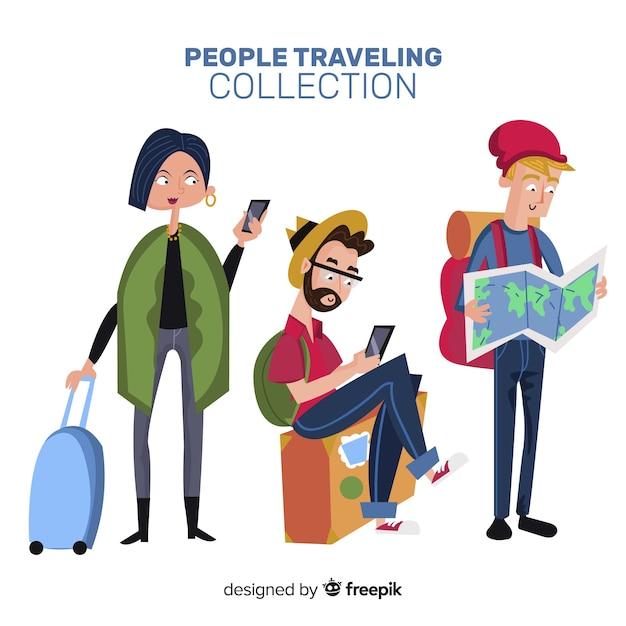 Ludzie podróżujący collectio Darmowych Wektorów