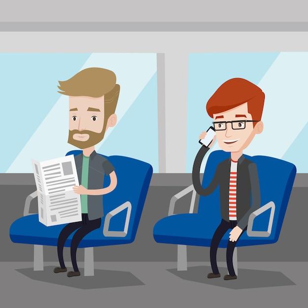 Ludzie Podróżujący Transportem Publicznym. Premium Wektorów