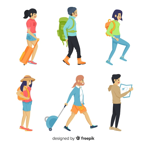 Ludzie Podróżujący W Kolekcji Darmowych Wektorów