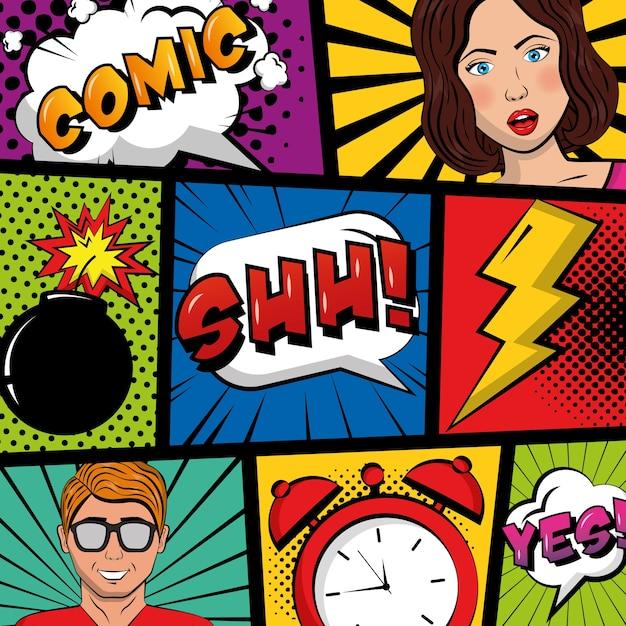 Ludzie Pop-art Komiks Zegar Crash Boom Tekst Retro Premium Wektorów