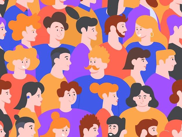Ludzie Portrety Wzór. Kreatywne Awatary Mężczyzn I Kobiet, Urocze, Uśmiechnięte Postacie, Ludzie Na Pokazach Społecznych Lub W Tle Publicznych Spotkań Premium Wektorów