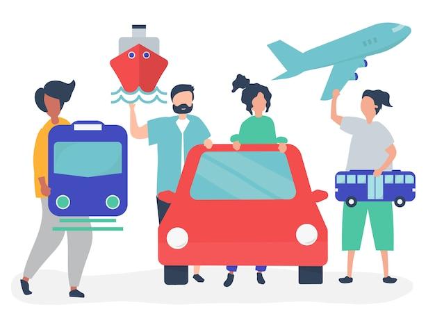 Ludzie posiadający różne ikony transportu Darmowych Wektorów