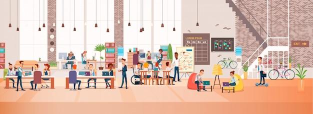 Ludzie pracują w biurze. coworking workspace. wektor Premium Wektorów