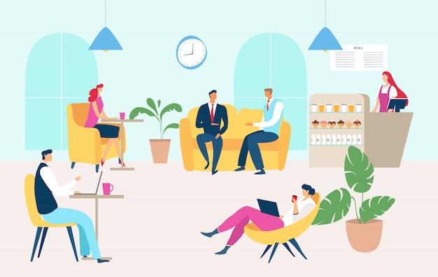Ludzie Pracujący łomota Czas W Firmy Kawiarni, Ilustracja. Stołówka Dla Pracowników, Ludzie Mężczyzna Kobieta Relaks Na Kanapie Premium Wektorów