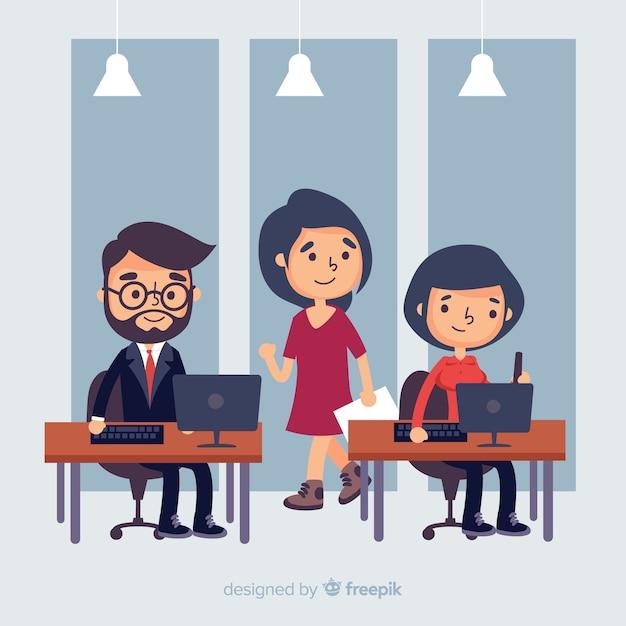 Ludzie pracujący w biurze Darmowych Wektorów