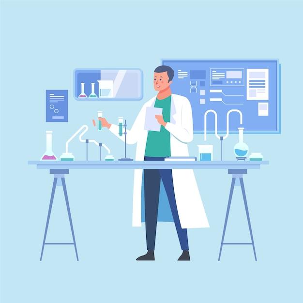 Ludzie Pracujący W Laboratorium Ilustracji Premium Wektorów