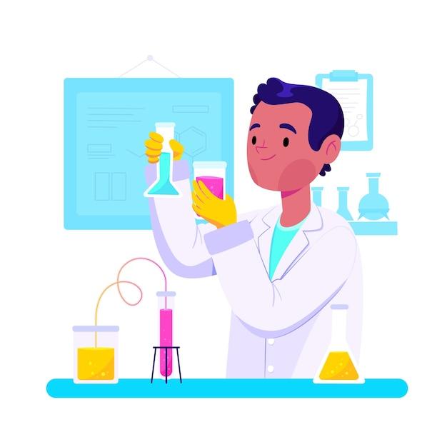Ludzie Pracujący W Laboratorium Naukowym Darmowych Wektorów