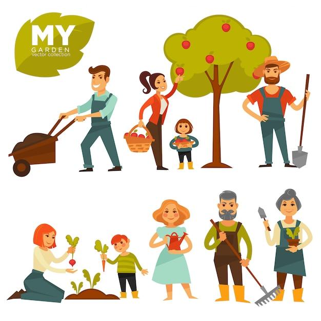 Ludzie Pracuje W Ogrodowym Kolorowym Wektorowym Plakacie Na Bielu Premium Wektorów