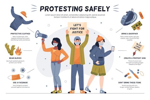 Ludzie Protestują Bezpiecznie Infographic Darmowych Wektorów