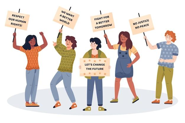 Ludzie Protestują Razem W Dobrej Sprawie Darmowych Wektorów