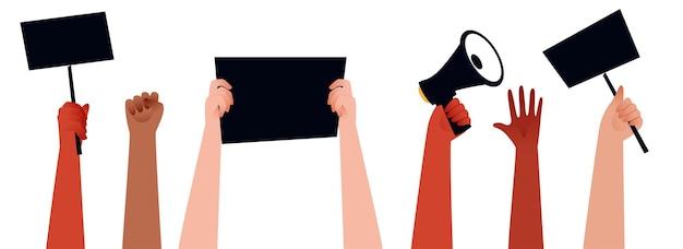 Ludzie Protestują Za Ręce I Trzymając Megafon, Plakaty Dla Ich Praw Na Białym Tle. Premium Wektorów