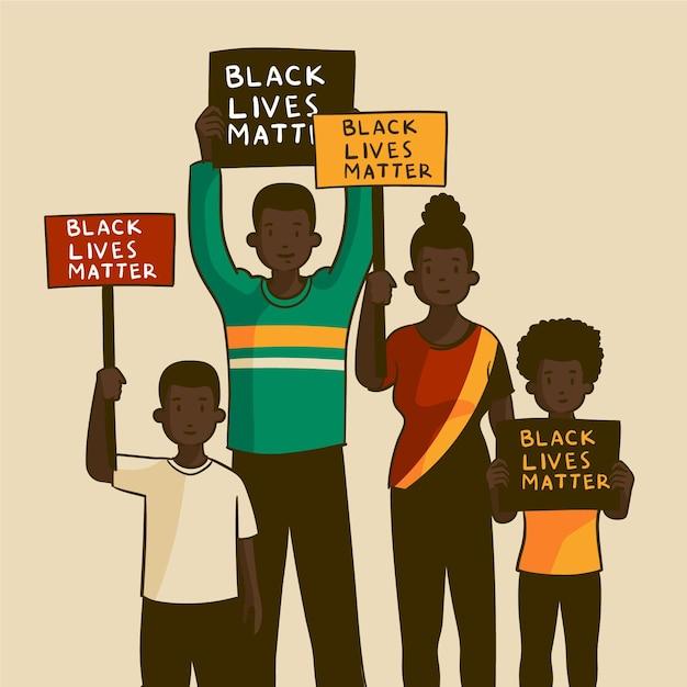 Ludzie Protestujący Przeciwko Dyskryminacji Rasowej Darmowych Wektorów