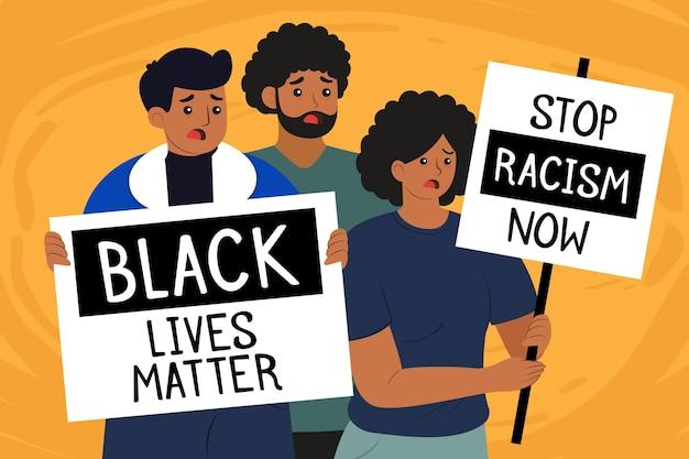 Ludzie Protestujący Przeciwko Rasizmowi Darmowych Wektorów