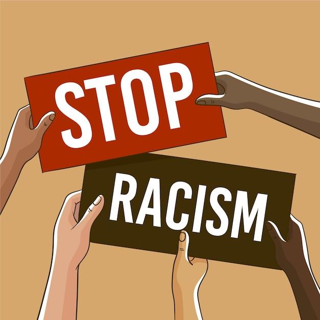 Ludzie Protestujący Z Afiszami Przeciwko Rasizmowi Darmowych Wektorów