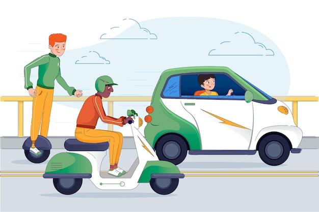 Ludzie Prowadzący Nowoczesny Transport Elektryczny Darmowych Wektorów