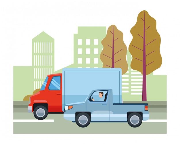 Ludzie prowadzący pojazdy w ruchu drogowym Premium Wektorów