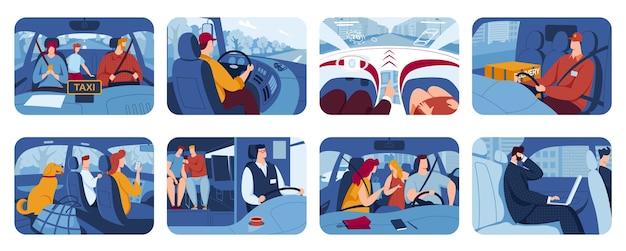 Ludzie Prowadzący Samochód, Zestaw Płaskich Ilustracji Kierowców. Premium Wektorów