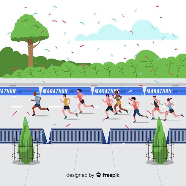Ludzie prowadzący wyścig maratoński Darmowych Wektorów