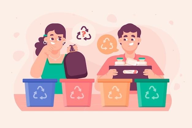 Ludzie Przetwarzający śmieci Premium Wektorów