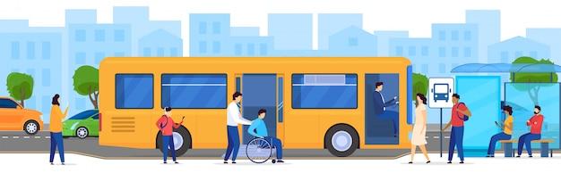 Ludzie Przy Autobusową Przerwą, Niepełnosprawny Pasażer W Wózku Inwalidzkim, Ilustracja Premium Wektorów