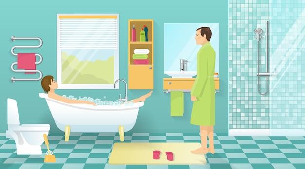 Ludzie Przy Projektowaniu łazienki Darmowych Wektorów