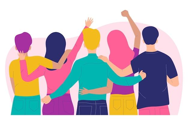 Ludzie Przytulanie Koncepcja Dzień Młodzieży Darmowych Wektorów
