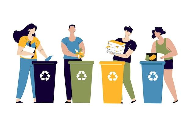 Ludzie Recyklingu Darmowych Wektorów