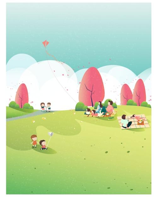 Ludzie Relaksujący Się Na łonie Natury W Okresie Wiosennym W Parku. Wiosna Na Wiosnę. Rodzinna Wycieczka Do Parku Lub Na Piknik. Dzieci Bawią Się Latawcem, Motylem I Kwiatem Jabłoni. Ludzie Na Wiosnę. Premium Wektorów